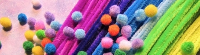 Chenille Stems, Pom Poms and Straws