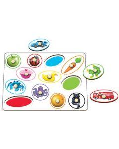 Knobbed Circles & Ovals Colour Match Puzzle 12pcs