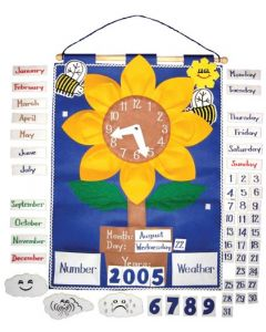 Sunflower Clock Fabric Wall Chart