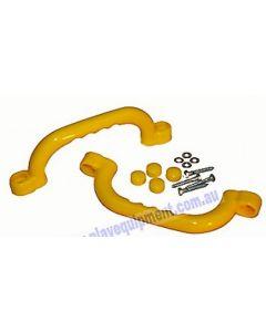 Short Plastic Hand Grips Yellow 2pcs