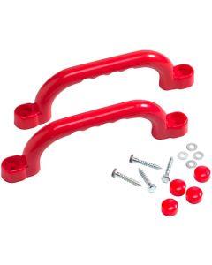 Short Plastic Handle Grips Red 2pcs