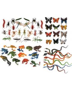 Collection of Frogs, Snakes, Insects & Butterflies 56pcs