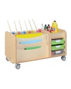 Solid Birch Ply Craft Trolley 105cmL x 45.5cmW x 60cmH