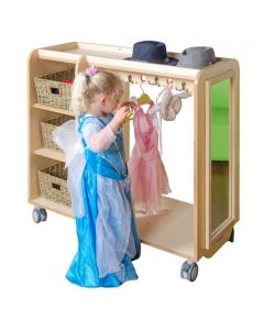 Birch Ply Dress Up Trolley With Mirror & Storage 105cmL x 45.5cmW x 100cmH