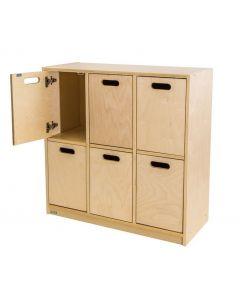 Solid Birch Ply 6 Space Locker Unit With Doors 90cmW x 38cmD x 90cmH