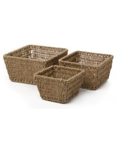 Seagrass Square Tapered Baskets Set of 3