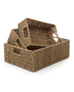 Seagrass Rectangular Baskets Set of 3