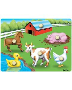 Knobbed Farm Animals Puzzle 6pcs