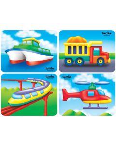 Raised Vehicles 4 Puzzle Set