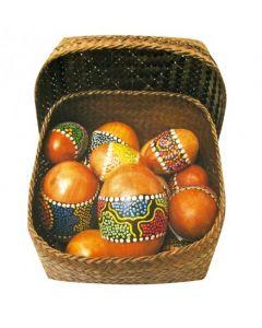 Wooden Egg Maracas in Basket 12pcs