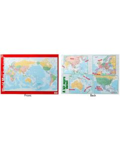 World Map Pacific Centred Double Sided Poster