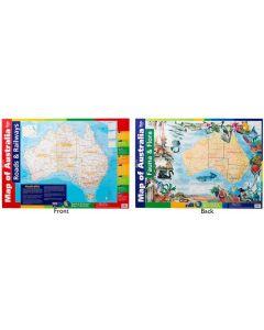 Australia Map Roads & Rail, Flora & Fauna Double Sided Poster