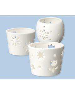 White Ceramic Tea Light Holders 3pcs