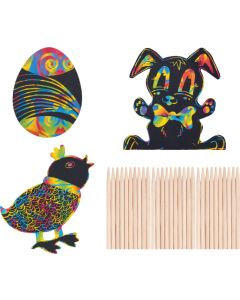 Scratch Art Easter Shapes 30pcs
