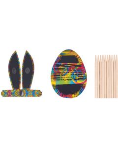 Scratch Art Bunny Ears And Eggs 20pcs