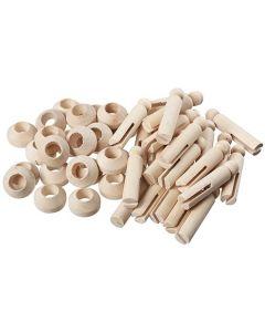 Wooden Peg Figures on Stands 6.5cmH 24pcs