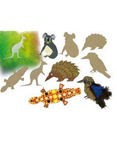 Wooden Australian Animal Shapes 20pcs