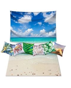 Beach Dramatic Play Scene: Carpet, Backdrop and 6 Cushions