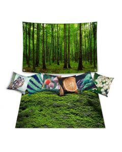 Forest Dramatic Play Scene: Carpet, Backdrop and 6 Cushions