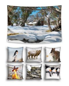 Snowy Winter Themed Backdrop and 6 Cushions With Inserts