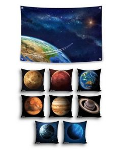 Into Orbit Themed Backdrop and 8 Planet Cushions With Inserts