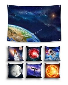 Into Orbit Themed Backdrop and 6 Space Cushions With Inserts