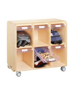 Solid Birch 6 Space Mobile Locker Unit With 6 Gliding Tote Trays