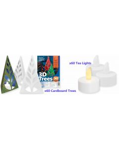 3D Christmas Trees 60pcs with LED Tea Lights 60pcs