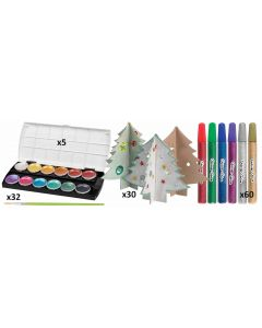 3D Christmas Trees, Glitter Glue, Watercolours and Brushes Set