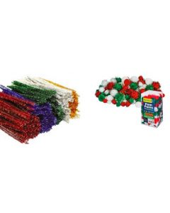 Bulk Christmas Pom Poms & Chenille Stems Assorted 800pcs