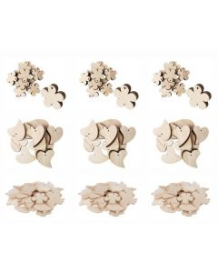 Bulk Wooden Shapes Mix - Nature, Hearts & Flowers 162pcs