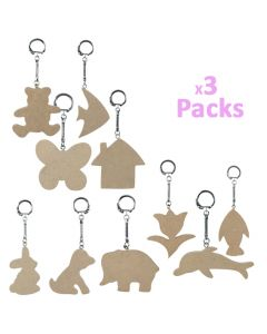 Key Rings With Wooden Tags 30pcs