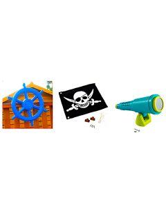 Pirate Flag, Jumbo Ship's Wheel and Jumbo Telescope Set