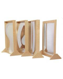Set of 4 Stainless Steel Mirrors in Birch Frames