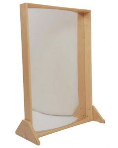 Stainless Steel Double-Sided Mirror 60cmWx90cmH in Birch Frame